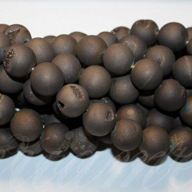 jsagdr0023-apv-18 apie 18 mm, apvali forma, marga, matinė, tamsi, ruda spalva, agatas (druzy), apie 22 vnt.