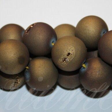 jsagdr0026-apv-12 apie 12 mm, apvali forma, auksinė spalva, agatas (druzy), apie 32 vnt.