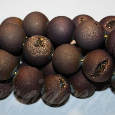 jsagdr0027-apv-18 apie 18 mm, apvali forma, ruda spalva, agatas (druzy), apie 22 vnt.