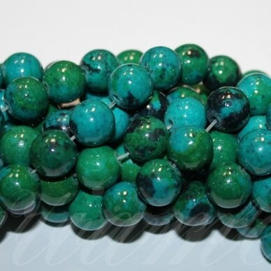 jschry-apv-14 about 14 mm, round shape, chrysocolla, about 28 pcs.