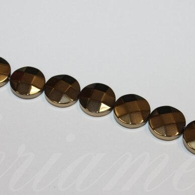 jsha-hak-disk-br-10x4 apie 10 x 4 mm,disko forma, briaunuotas, haki spalva, hematitas, apie 38 vnt.