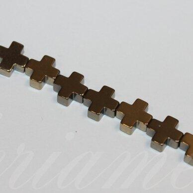 jsha-hak-kryz2-06x6x2 apie 6 x 6 x 2 mm,kryželio forma, chaki spalva, hematitas, apie 65 vnt.