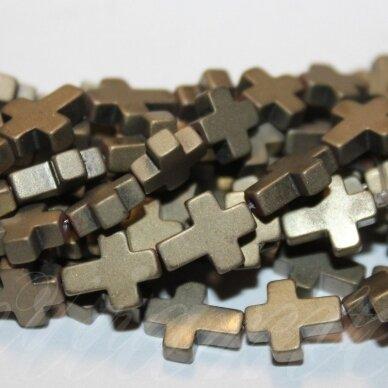 jsha-hak-mat-kryz3-10x8x3 apie 10 x 8 x 3 mm,kryželio forma, matinė, haki spalva, hematitas, apie 39 vnt.