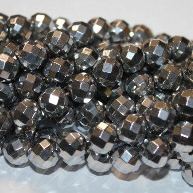JSHA-SID-APV-BR1-10 apie 10 mm, apvali forma, briaunuotas, sidabrinė spalva, hematitas, apie 40 vnt.