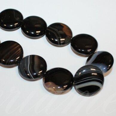 jskaa0013-disk-20x7 apie 20 x 7 mm, disko forma, juoda spalva, agatas, apie 20 vnt.