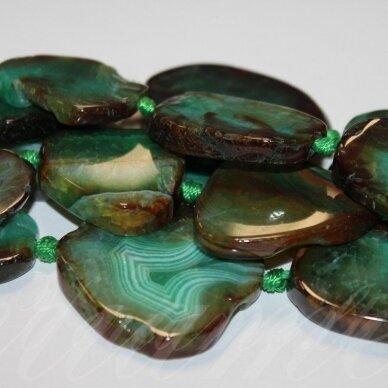 JSKAA0363-NET-20x15x5-50x40x8 apie 20 x 15 x 5 - 50 x 40 x 8 mm, netaisyklinga forma, margas, žalia spalva agatas, apie 38 cm.