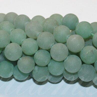 jskaav-zal-mat-apv-10 apie 10 mm, apvali forma, matinė, žalias avantiurinas, apie 38 vnt.