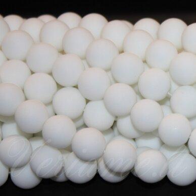 jskabalt-mat-apv-08 apie 8 mm, apvali forma, matinė, baltas oniksas, apie 48 vnt.