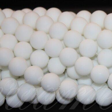 jskabalt-mat-apv-12 apie 12 mm, apvali forma, matinė, baltas oniksas, apie 32 vnt.