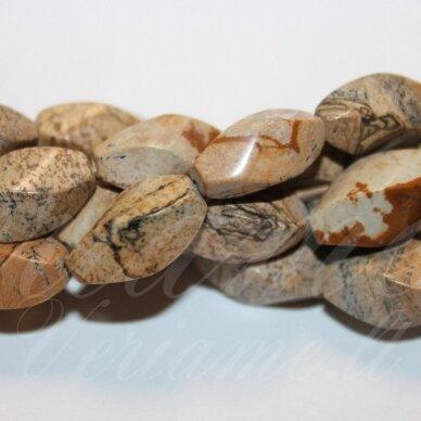 JSKAJA-PAV-PAI2-4BR-SUK-16x8 apie 16 x 8 mm, pailga forma, keturbriaunis, suktas, marga, paveikslinis jaspis, apie 24 vnt.