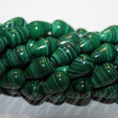 JSKAML-LAS-14x10 apie 14 x 10 mm, lašo forma, malachitas, apie 28 vnt.