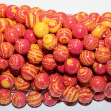 jskaml-rg-apv-08 apie 8 mm, apvali forma, sintetinis, geltona spalva, raudona spalva, malachitas, apie 48 vnt.