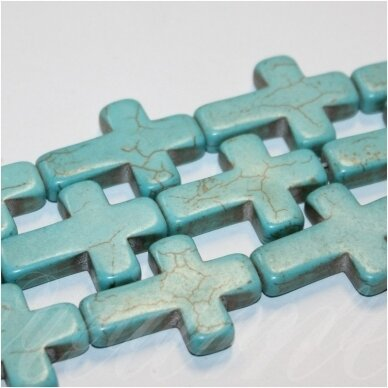 jskat-kryz2-15.5x12x3.5 apie 15.5 x 12 x 3.5 mm, kryželio forma, turkis, apie 25 vnt.