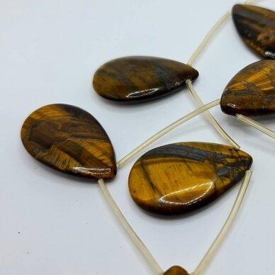 jskata-rud-las2-22x35x5 apie 22x35x5 mm, lašo forma, briaunuotas, ruda spalva, tigro akis, 11 vnt.