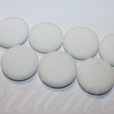 jskaza-balt-mat-disk-30x8 apie 30 x 8 mm, disko forma, matinis, balta spalva, žadeitas, 13 vnt.
