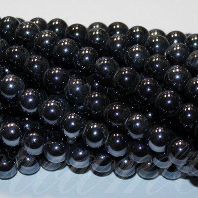jsker0001-apv-08 (a35) apie 8 mm, apvali forma, tamsi, hematito spalva, keramikiniai karoliukai, apie 40 vnt.