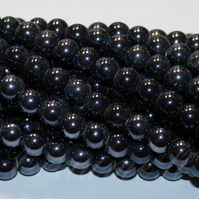 jsker0001-apv-20 (a35) apie 20 mm, apvali forma, tamsi, hematito spalva, keramikiniai karoliukai, apie 14 vnt.