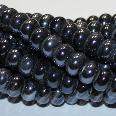 jsker0001-ron-05x8 (a35) apie 5 x 8 mm, rondelės forma, tamsi, hematito spalva, keramikiniai karoliukai, apie 60 vnt.