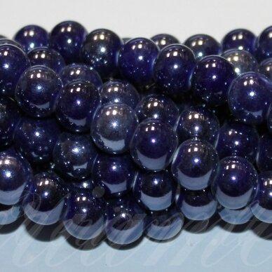 JSKER0002-APV-08 apie 8 mm, apvali forma, tamsi, mėlyna spalva, keramikiniai karoliukai, apie 40 vnt.