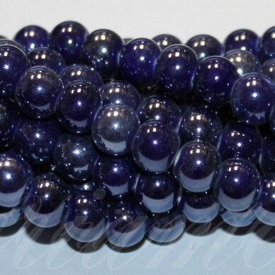 jsker0002-apv-20 apie 20 mm, apvali forma, tamsi, mėlyna spalva, keramikiniai karoliukai, apie 14 vnt.