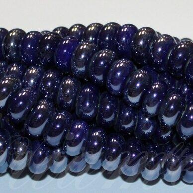 jsker0002-ron-05x10 apie 5 x 10 mm, rondelės forma, tamsi, mėlyna spalva, keramikiniai karoliukai, apie 53 vnt.