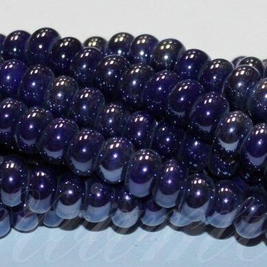 JSKER0002-RON-05x8 apie 5 x 8 mm, rondelės forma, tamsi, mėlyna spalva, keramikiniai karoliukai, apie 60 vnt.