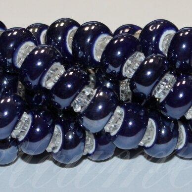 jsker0002-ron-07x13 apie 7 x 13 mm, skylė 6 mm, rondelės forma, tamsi, mėlyna spalva, keramikiniai karoliukai, apie 25 vnt.