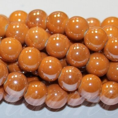 JSKER0003-APV-08 apie 8 mm, apvali forma, oranžinė spalva, keramikiniai karoliukai, apie 40 vnt.