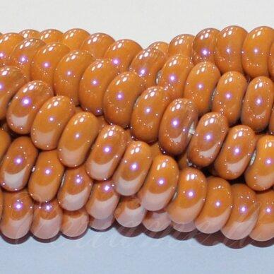 JSKER0003-RON-05x10 apie 5 x 10 mm, rondelės forma, oranžinė spalva, keramikiniai karoliukai, apie 53 vnt.