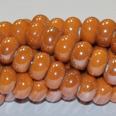 jsker0003-ron-05x8 (A12) apie 5 x 8 mm, rondelės forma, oranžinė spalva, keramikiniai karoliukai, apie 60 vnt.