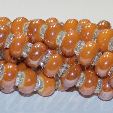jsker0003-ron-07x13 (A12) apie 7 x 13 mm, skylė 6 mm, rondelės forma, oranžinė spalva, keramikiniai karoliukai, apie 25 vnt.