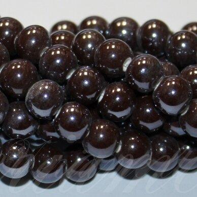 JSKER0004-APV-12 apie 12 mm, apvali forma, ruda spalva, keramikiniai karoliukai, apie 25 vnt.