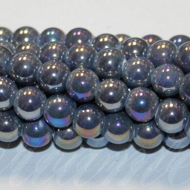 JSKER0005-APV-18 apie 18 mm, apvali forma, pilka spalva, keramikiniai karoliukai, AB danga, apie 17 vnt.