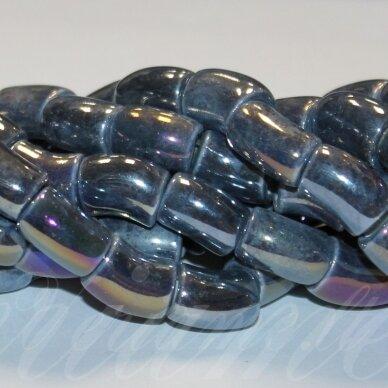 jsker0005-lcil-14x8 apie 14 x 8 mm, skylė 5 mm, lenkto cilindro forma, pilka spalva, keramikiniai karoliukai, ab danga, apie 25 vnt.