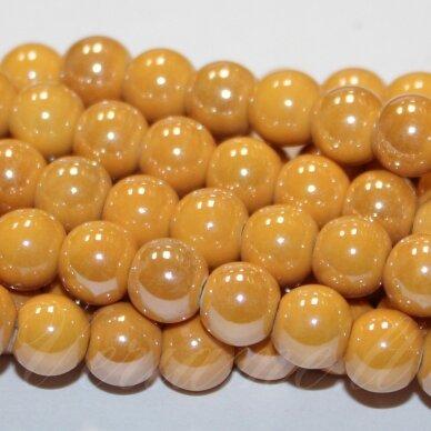 jsker0006-apv-10 apie 10 mm, apvali forma, šviesi, oranžinė spalva, keramikiniai karoliukai, apie 30 vnt.