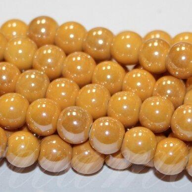 jsker0006-apv-14 apie 14 mm, apvali forma, šviesi, oranžinė spalva, keramikiniai karoliukai, apie 21 vnt.