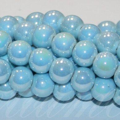 jsker0007-apv-08 (B20) apie 8 mm, apvali forma, žydra spalva, keramikiniai karoliukai, ab danga, apie 40 vnt.
