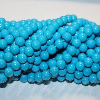 jsstik0114-apv-08 stikliniai karoliukai, apie 8 mm, apvali forma, mėlyna spalva, stikliniai karoliukai, apie 100 vnt.