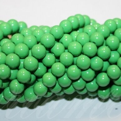 jsstik0117-apv-08 stikliniai karoliukai, apie 8 mm, apvali forma, žalia spalva, stikliniai karoliukai, apie 100 vnt.