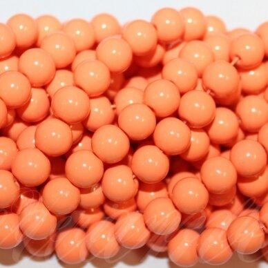 jsstik0118-apv-10 stikliniai karoliukai, apie 10 mm, apvali forma, oranžinė spalva, stikliniai karoliukai, apie 80 vnt.