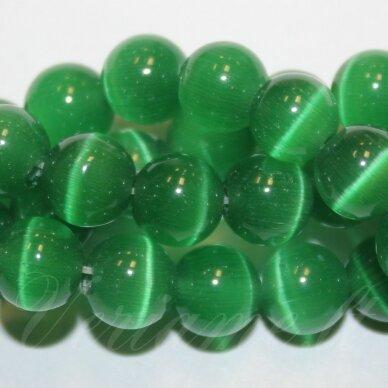 jsstkat0009-apv-06 apie 6 mm, apvali forma, tamsi, žalia spalva, stiklinis karoliukas, katės akis, apie 65 vnt.