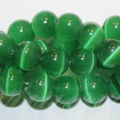 JSSTKAT0009-APV-10 apie 10 mm, apvali forma, tamsi, žalia spalva, stiklinis karoliukas, katės akis, apie 40 vnt.