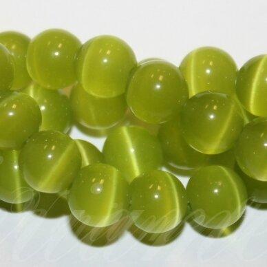 jsstkat0014-apv-12 (22g) apie 12 mm, apvali forma, salotinė spalva, stiklinis karoliukas, katės akis, apie 32 vnt.