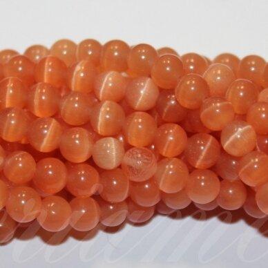 JSSTKAT0018-APV-12 apie 12 mm, apvali forma, šviesi, oranžinė spalva, stiklinis karoliukas, katės akis, apie 32 vnt.