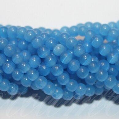 jsstkat0026-apv-04 apie 4 mm, apvali forma, mėlyna spalva, stiklinis karoliukas, katės akis, apie 97 vnt.