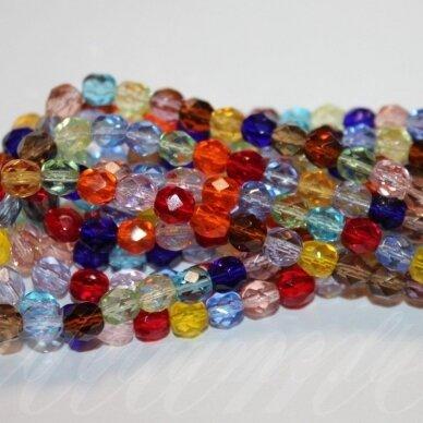 JSSTKB0004-06 apie 6 mm, apvali forma, briaunuotas, skaidrus, MIX spalva, stikliniai karoliukai, apie 97 vnt.
