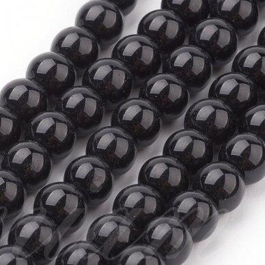 jsstperl0006-04 apie 4 mm, apvali forma, juoda spalva, stiklinis perliukas, apie 210 vnt. 2