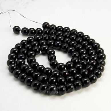 jsstperl0006-10 apie 10 mm, apvali forma, juoda spalva, stiklinis perliukas, apie 80 vnt.