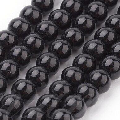 jsstperl0006-10 apie 10 mm, apvali forma, juoda spalva, stiklinis perliukas, apie 80 vnt. 2