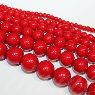 jsstperl0167-08 apie 8 mm, apvali forma, raudona spalva, stiklinis perliukas, apie 110 vnt.